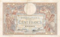France 100 Francs Women and childs - 29-12-1938 Serial X.62836 - VF