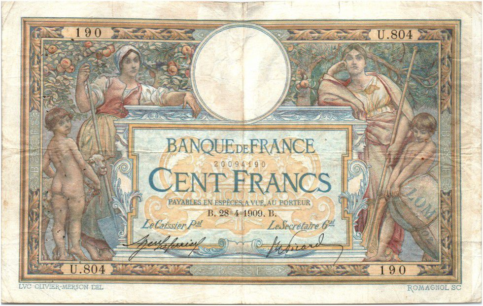 France 100 Francs Women with child - 28-04-1909 U.804