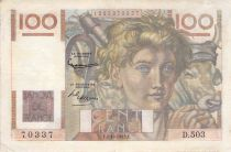 France 100 Francs Young Farmer - 02-10-1952 - Serial D.503 - Reversed Watermark - F+
