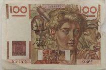 France 100 Francs Young Farmer - 02-10-1952 - Serial Q.486 - VF