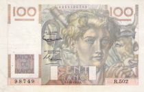France 100 Francs Young Farmer - 02-10-1952 - Serial R.502 - Reversed Watermark - F+