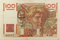 France 100 Francs Young Farmer - 03-04-1952 - Serial H.456 - F to VF