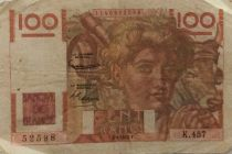 France 100 Francs Young Farmer - 03-04-1952 - Serial K.457 - F to VF