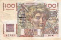 France 100 Francs Young Farmer - 04-03-1954 - Serial O.590 - Reversed Watermark - F