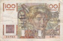 France 100 Francs Young Farmer - 04-09-1952 - Serial S.481 - F
