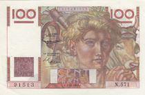 France 100 Francs Young farmer - 05-12-1953 - Serial N.571