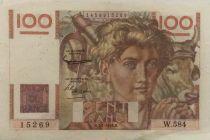France 100 Francs Young Farmer - 07-01-1954 - Serial W.584 - VF