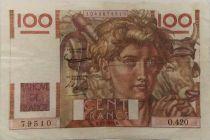 France 100 Francs Young Farmer - 07-02-1952 - Serial O.420 - VF+