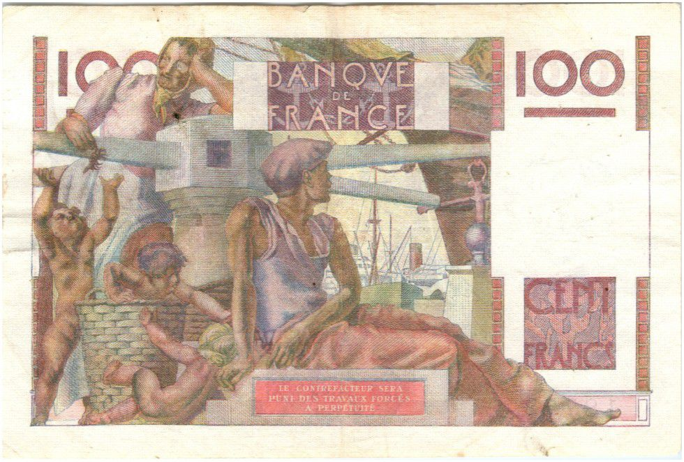 France 100 Francs Young farmer - 1954 - inverted watermark