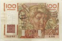 France 100 Francs Young Farmer - inverted watermark - 02-10-1952 - Série A.502 - VF
