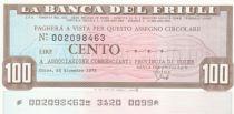 France 100 Lires Banca del Friuli - 22-12-1976 - UNC