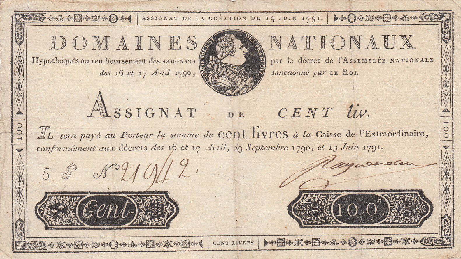 France 100 Livres Bust of Louis XVI - 19-06-1791 Serial 5G - Sign. Ragueneau - F to VF