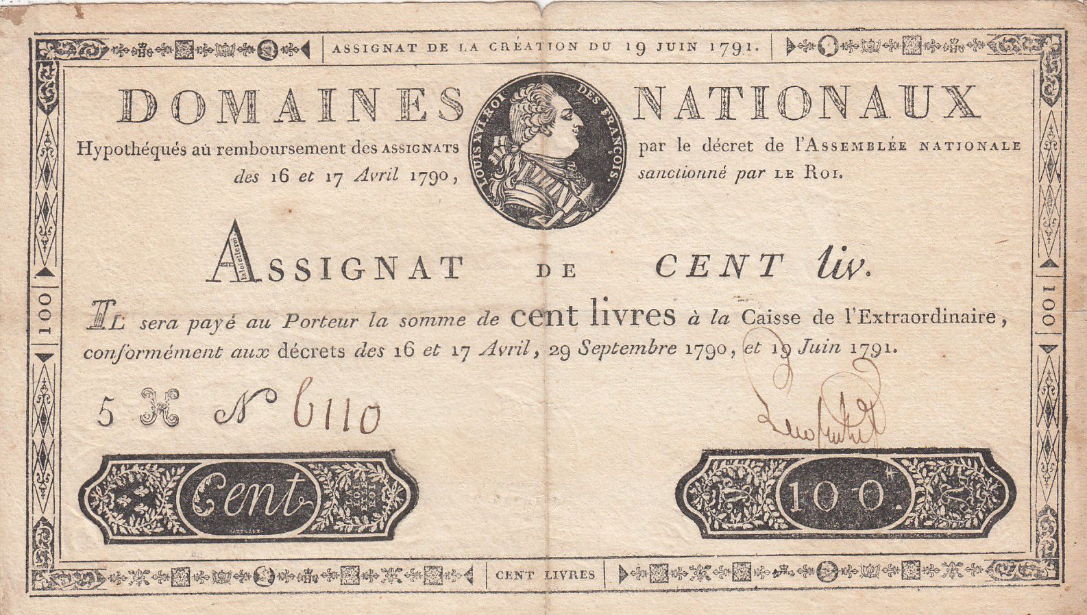 France 100 Livres Bust of Louis XVI - 19-06-1791 Serial 5H - Sign. Lecointe - VF
