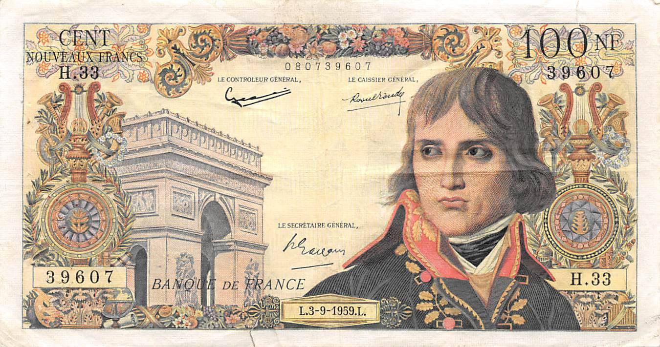 France 100 NF Bonaparte - 03-09-1959 - Serial H.33 - F to VF