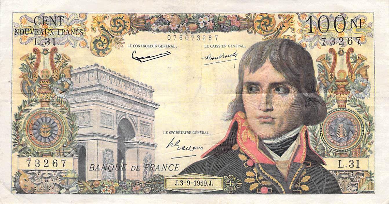 France 100 NF Bonaparte - 03-09-1959 - Série L.31 - TTB