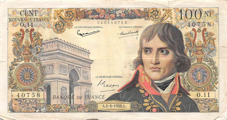 France 100 NF Bonaparte - 04-06-1959 - Série O.11 - TB+