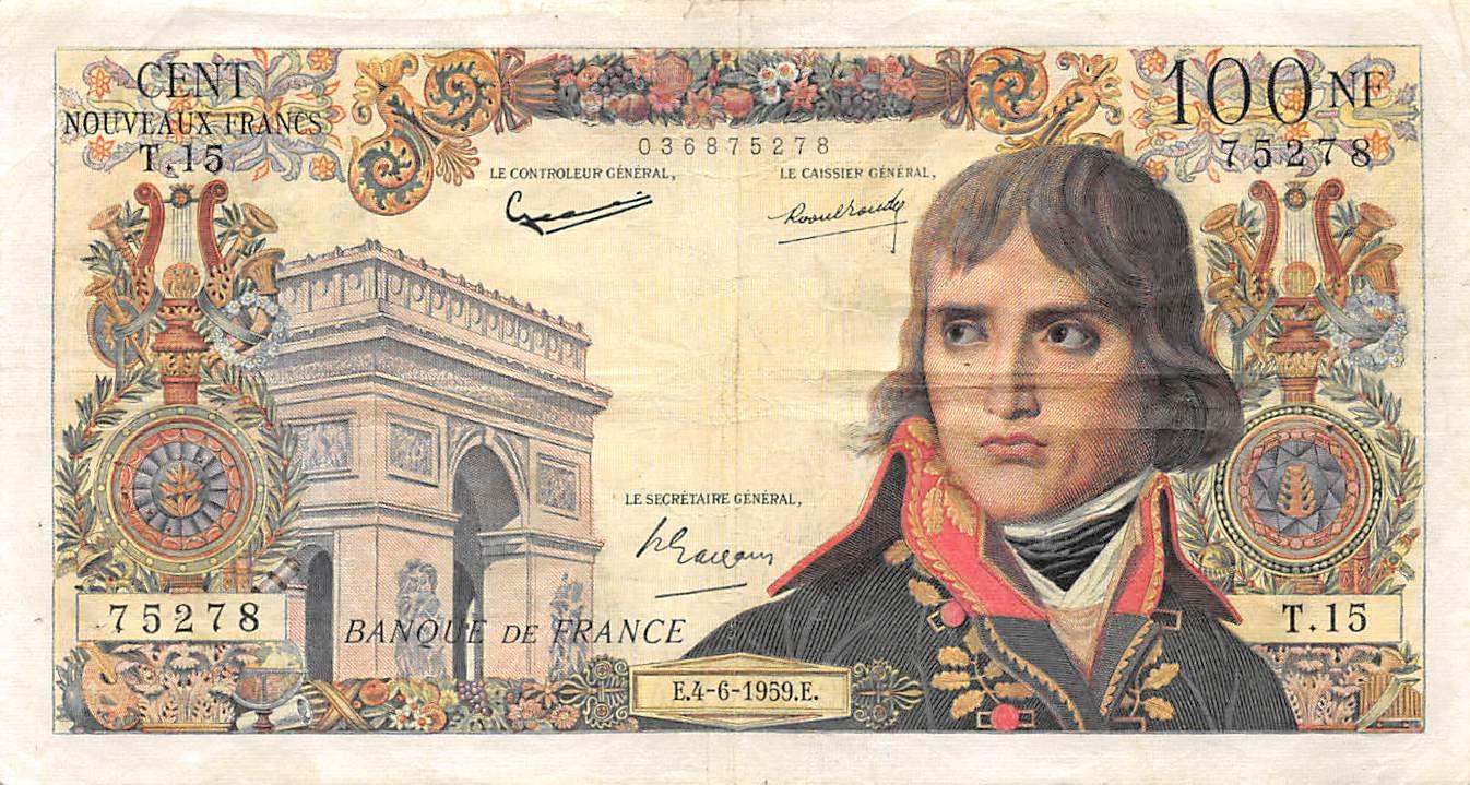 France 100 NF Bonaparte - 04-06-1959 - Série T.15 - TTB
