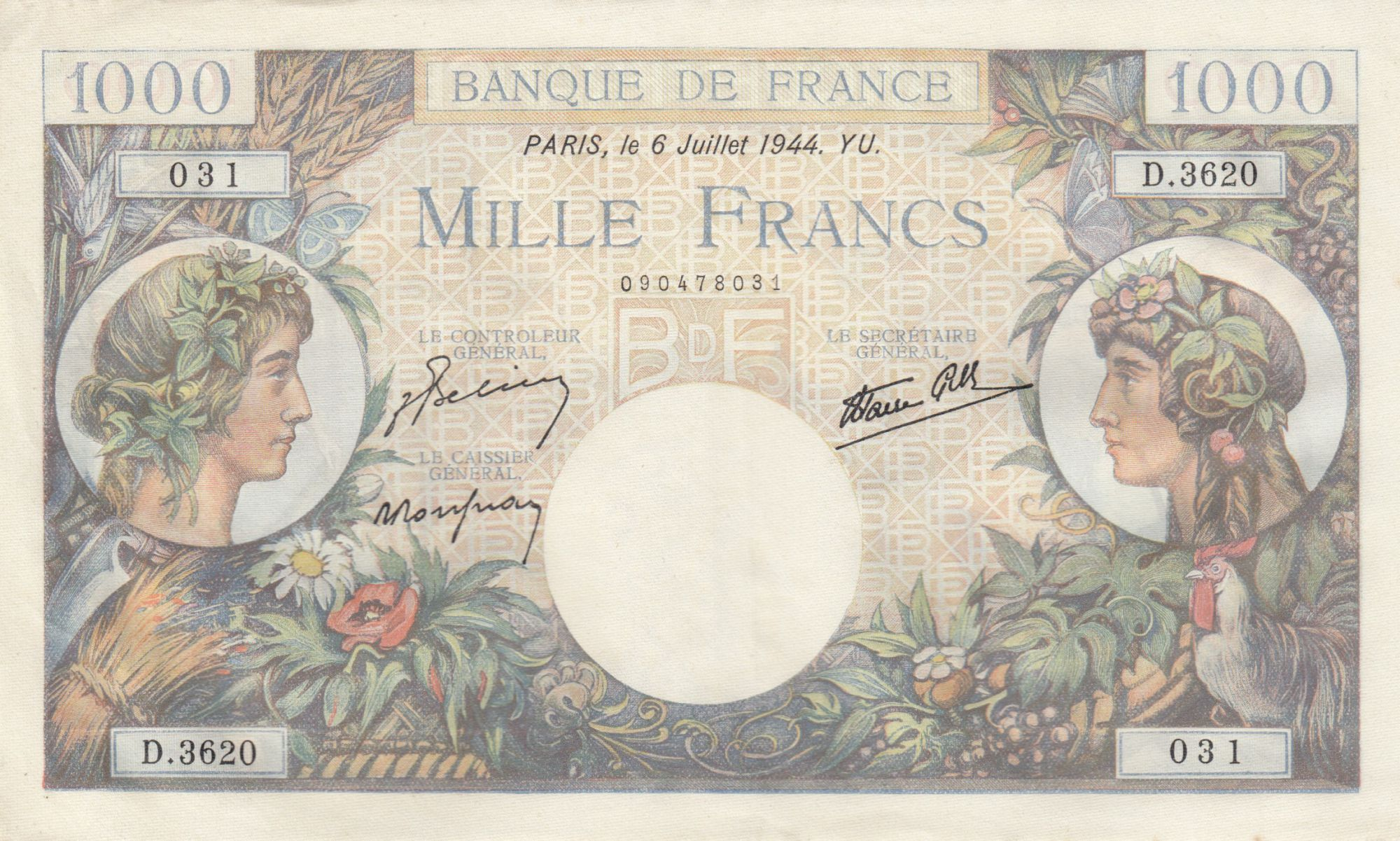 France 1000 Francs - 06-07-1944 Serial D.3620 - P.96c - XF to AU