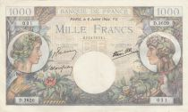 France 1000 Francs - 06-07-1944 Serial D.3620 - P.96c - XF to AU