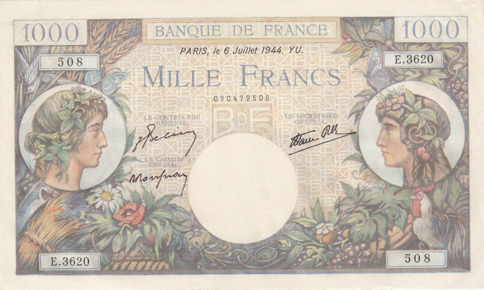 France 1000 Francs - 06-07-1944 Serial E.3620 - P.96c - XF to AU