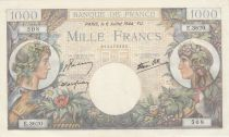 France 1000 Francs - 06-07-1944 Serial E.3620 - P.96c - XF to AU