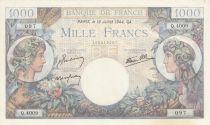 France 1000 Francs - 13-07-1944 Serial Q.4009 - P.96 - AU