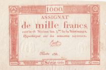 France 1000 Francs 18 Nivose An III - 7.1.1795 - Sign. Bert - VF+