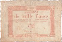 France 1000 Francs 18 Nivose An III - 7.1.1795 - Sign. Coupé - VG to F