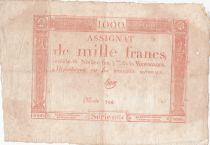 France 1000 Francs 18 Nivose An III - 7.1.1795 - Sign. Haze - VF