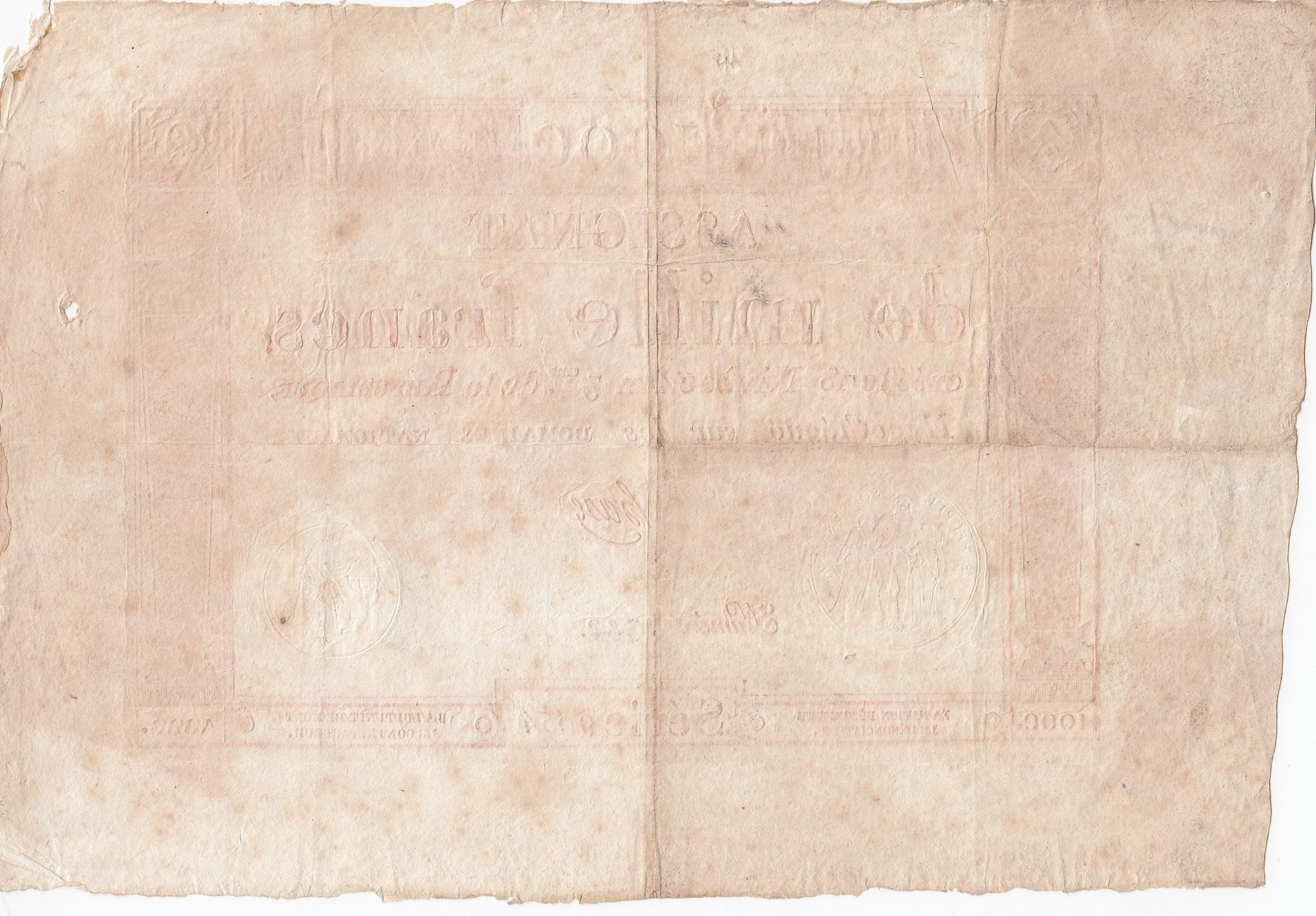 France 1000 Francs 18 Nivose An III - 7.1.1795 - Sign. Haze - VF