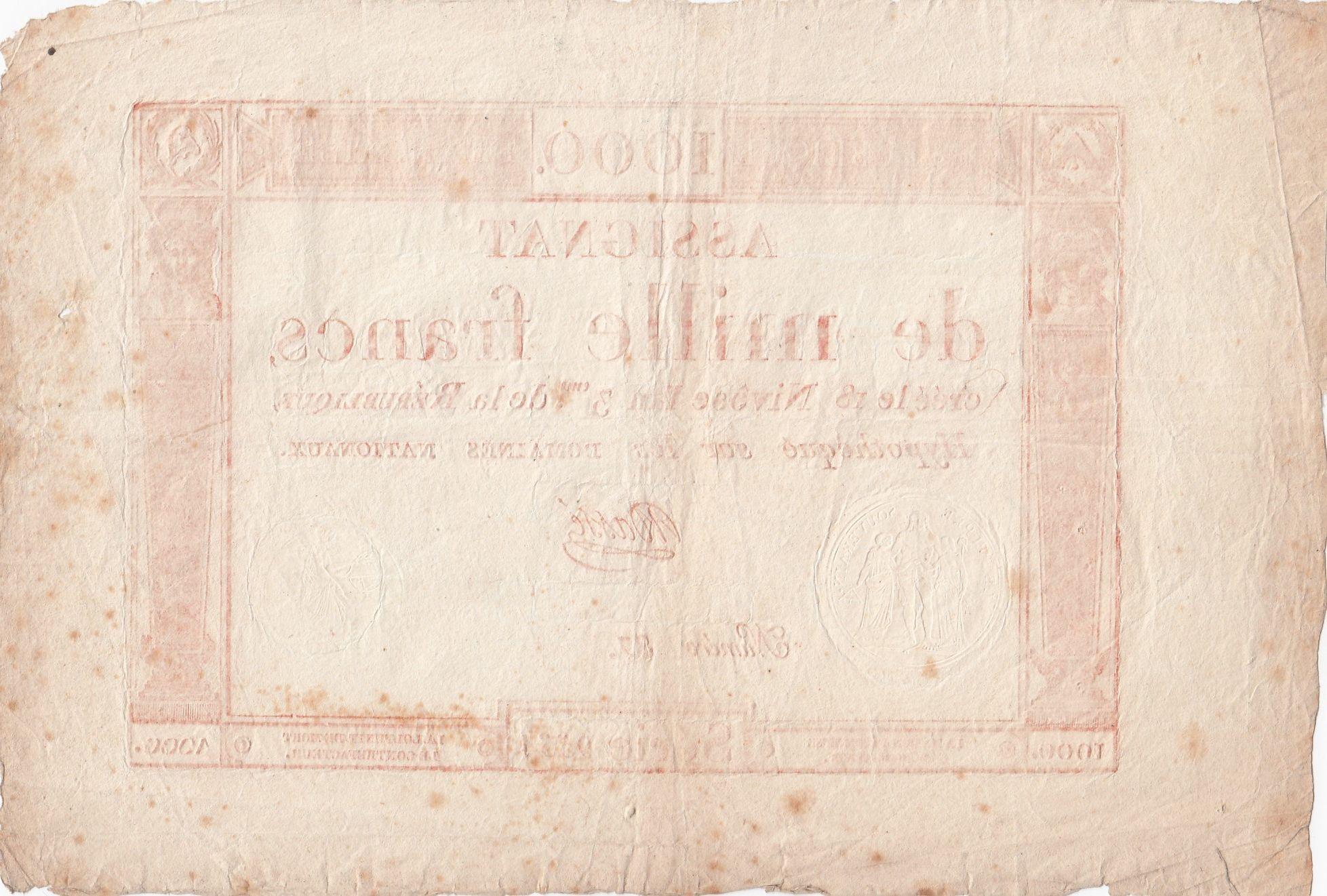 France 1000 Francs 18 Nivose An III - 7.1.1795 - Sign. Massé - VF