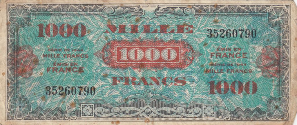 France 1000 Francs Allied Military Currency (Flag) - 1944 - P.120a
