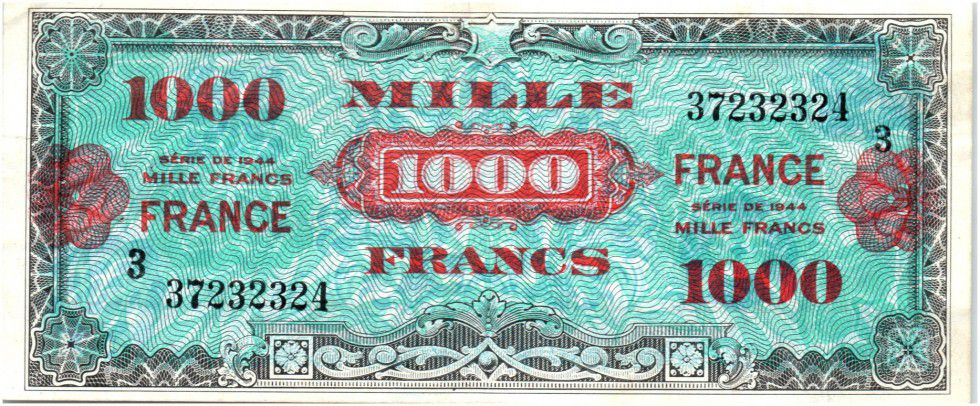 France 1000 Francs Allied Military Currency 1945 Serial 3 Loading Zoom