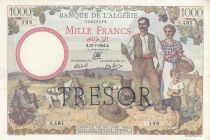 France 1000 Francs Bank of Algeria overprint TRESOR - 1942