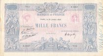 France 1000 Francs Blue on lilac - 26-01-1925 - Serial O.1837-  F to VF