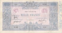 France 1000 Francs Blue on lilac - 27-07-1914 - Serial W.900 -  F to VF