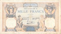 France 1000 Francs Ceres and Mercury - 02-02-1939 Serial H.6487 - F to VF