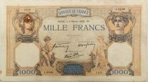 France 1000 Francs Ceres and Mercury - 02-02-1939 Serial J.6446 - VF