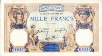 France 1000 Francs Ceres and Mercury - 02/02/1939 Serial O.6284  - VF
