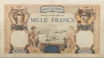 France 1000 Francs Ceres and Mercury - 02-02-1939 Serial T.6080 - F to VF