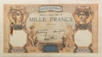 France 1000 Francs Ceres and Mercury - 02-02-1939 Serial X.6454 - VF