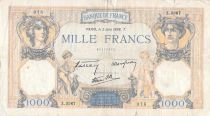France 1000 Francs Ceres and Mercury - 02-06-1938 Serial Z.3367 - F