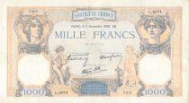 France 1000 Francs Ceres and Mercury - 02-11-1939 Serial L.8074 - F+