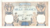 France 1000 Francs Ceres and Mercury - 03-11-1938 Serial C.5127 - VF