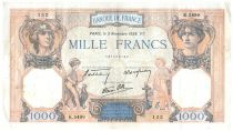 France 1000 Francs Ceres and Mercury - 03-11-1938 Serial K.5499 - VF