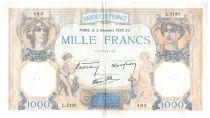 France 1000 Francs Ceres and Mercury - 03-11-1938 Serial L.5120 - VF
