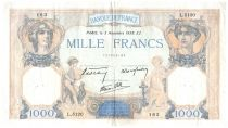 France 1000 Francs Ceres and Mercury - 03-11-1938 Serial L.5120 - VF