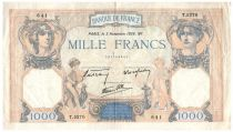 France 1000 Francs Ceres and Mercury - 03-11-1938 Serial T.5270 - VF