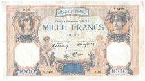 France 1000 Francs Ceres and Mercury - 03-11-1938 Serial X.5427 - Fine