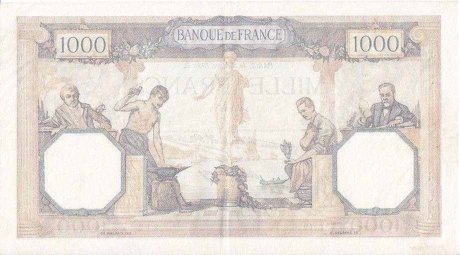 France 1000 Francs Ceres and Mercury - 05/03/1931 Serial L1226